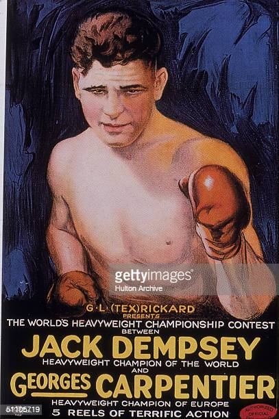 Illustrated poster of American boxer Jack Dempsey promting his match against George Carpenter for the World Heavyweight championship title July 2...
