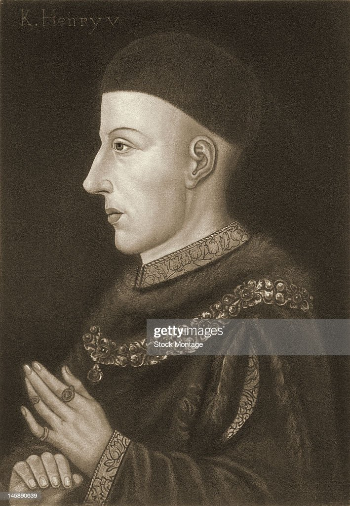 Illustrated profile portrait of English King Henry V of England early 15th century