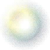 Illustrated rainbow sun made out of a circular design radiating out