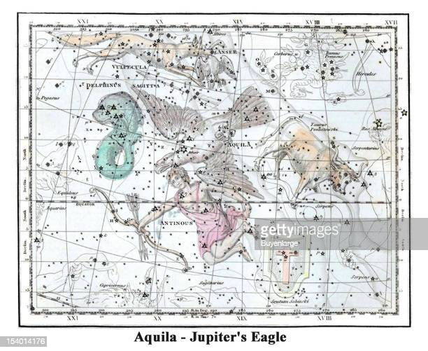 Illustrated starchart shows Aquila Jupiter's Eagle 1822 Aquila is a stellar constellation Its name is Latin for 'eagle' and it is commonly...