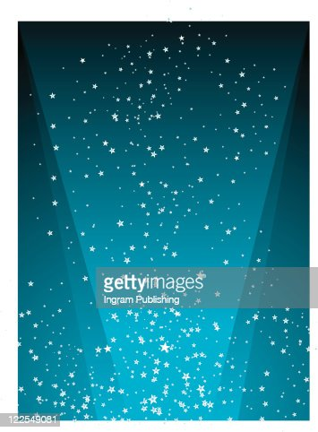 illustrated starry night background with a radiating light in blue : Stock-Foto