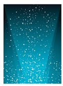 illustrated starry night background with a radiating light in blue