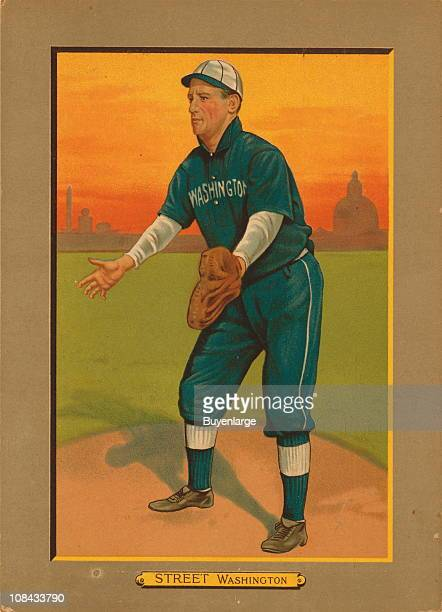 Illustrated trade card depicts American baseball catcher and manager Gabby Street of the Washington Nationals 1911