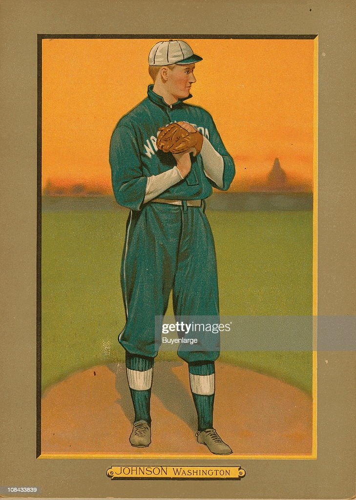 Illustrated trade card depicts American Hall of Fame baseball pitcher Walter Johnson of the Washington Nationals 1911