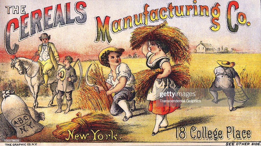 Illustrated trade card for 'The Cereals Manufacturing Co.' shows harvesting activity in a grain field, late nineteenth century.