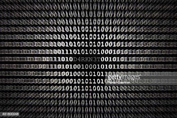 Illustration about 'Darknet' closeup of binary codes on January 13 2017 in Berlin Germany