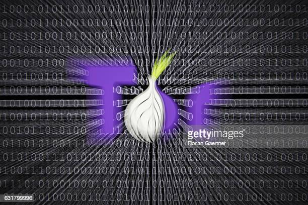 Illustration about 'Darknet' logo of the Tor Browser which provides access to the Darknet Binary codes are shown in the background on January 13 2017...