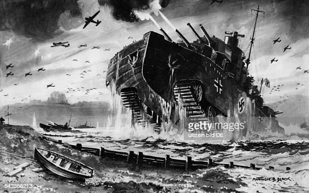 Illustration aus einer britischenZeitschrift die das Trauma einerdeutschen Invasion beschwörtphantastische Kriegsmaschinen undWolken von Flugzeugen...