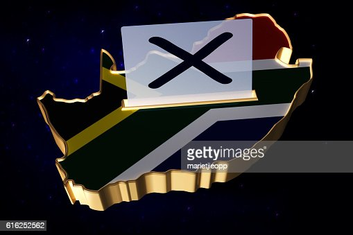 3D Illustration Ballot box in shape of South African map : Foto de stock