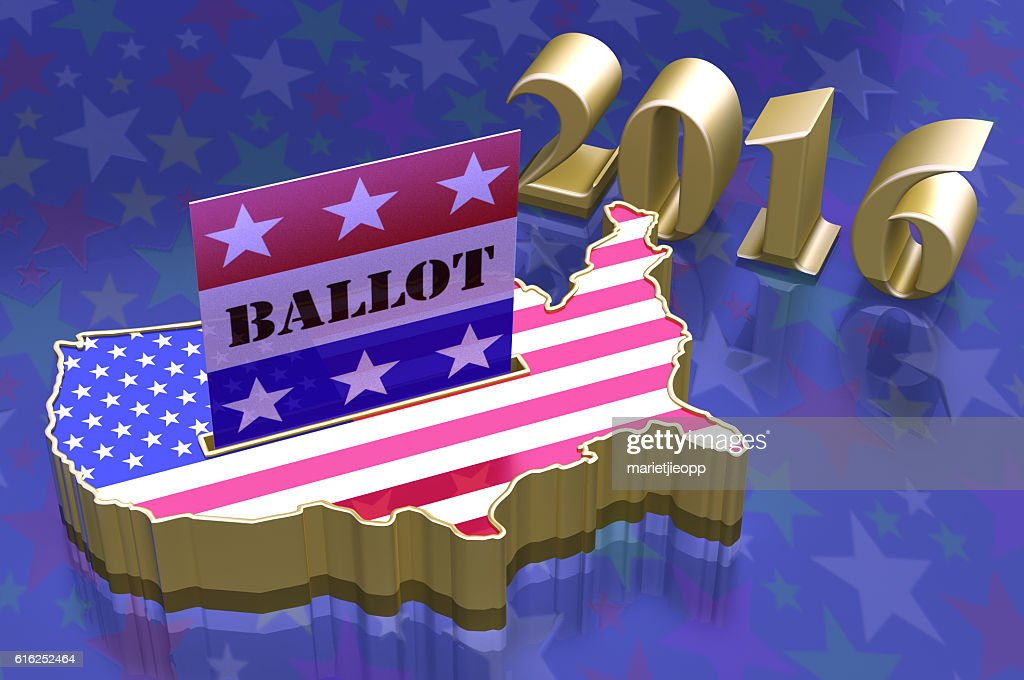 3D Illustration Ballot box in shape of USA map : Foto de stock