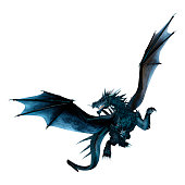 3D rendering of a black fairy tale dragon isolated on white background