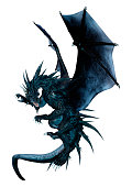 3D rendering of a black fantasy dragon isolated on white background
