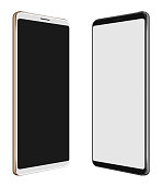3D illustration Black Smartphone & White Smartphone with big screen isolated on white