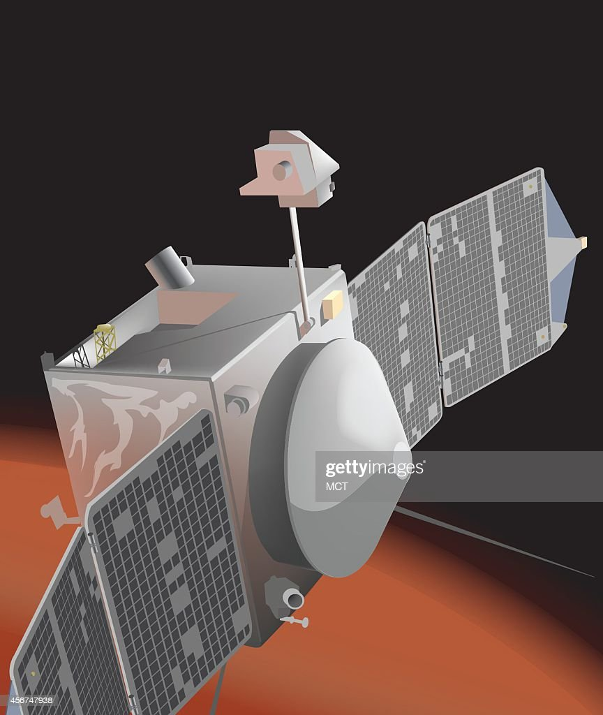 DPI illustration by Erik Rodriguez of NASA's Mars Atmosphere and Volatile Evolution spacecraft which recently entered Mars' orbit to study the upper...