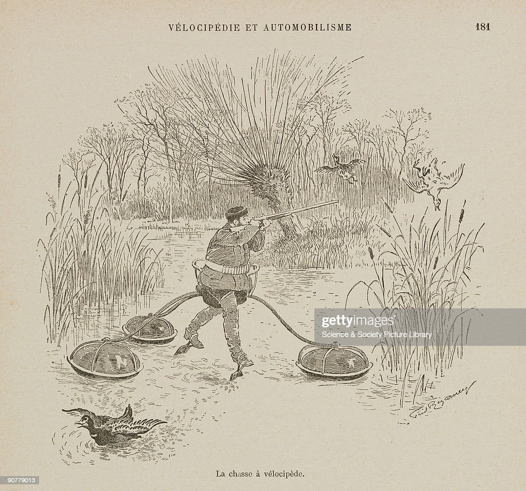 Illustration by Frederic Regamey of a fanciful invention from his �Velocipedie et automobilisme� a work on the social or humorous aspects of road use...