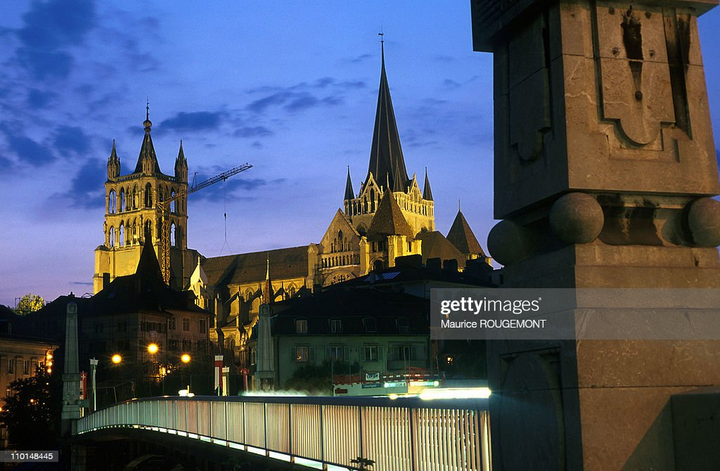 Illustration Cathedral from Charles Bessieres bridge in Lausanne Switzerland in 2001