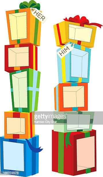 illustration Charles Bloom illustration of 'Hers' and 'His' stacks of gift boxes with spaces on each box for the gifts