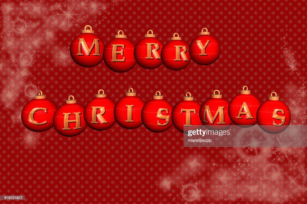 3D Illustration: Christmas balls each with a letter on it : Stock Photo