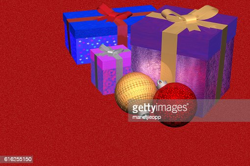 3D Illustration: Christmas gifts plus ornaments : Foto de stock
