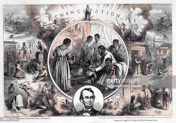 Illustration commemorating the 1865 emancipation of Southern slaves and the end of the American Civil War