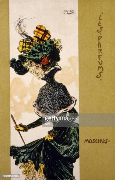 Illustration de Raphael Kirchner pour sa série 'Les Parfums' senteur musc à Vienne