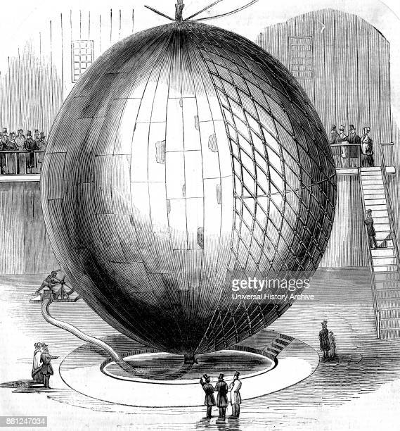 Illustration depicting a copper hotair balloon on display in Paris Dated 19th Century