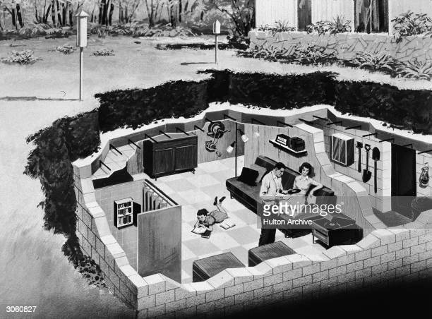 Illustration depicting a family in their back yard underground bomb shelter early 1960s