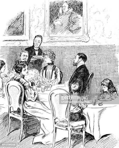 Illustration depicting a formal dinning scene in the home of a wealthy family The children are sat at a separate table to the adults Dated 20th...