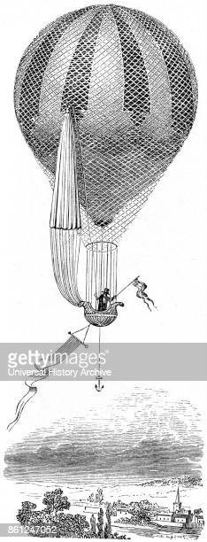 Illustration depicting a hotair balloon which has been fitted with a parachute Dated 19th Century