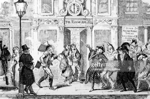 Illustration depicting a London street scene with revellers returning home as the labouring classes start on their day's work all are watched by the...
