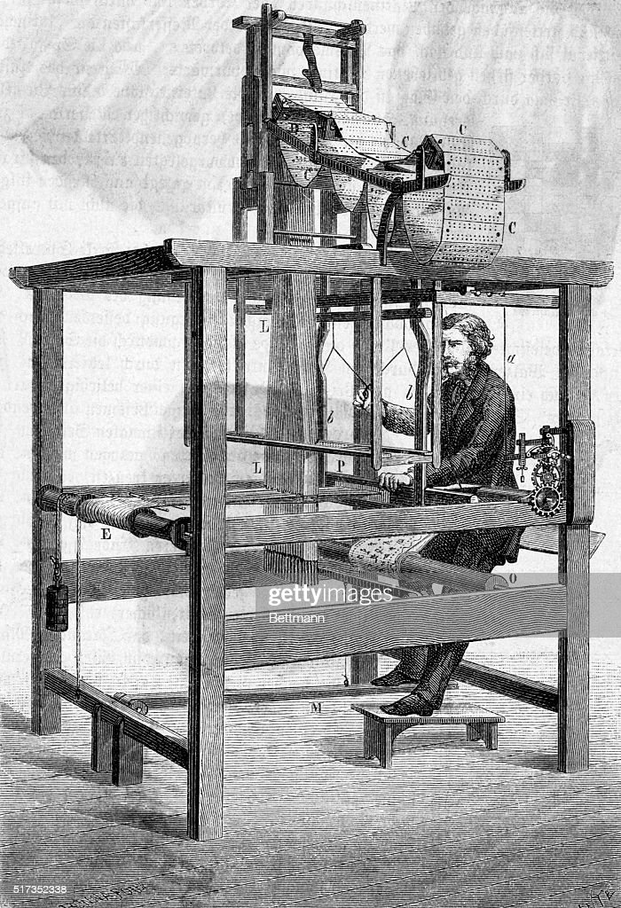 Illustration depicting a man operating a Jacquard loom Engraving 1877