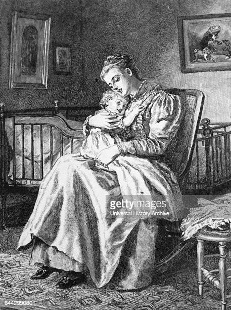 Illustration depicting a mother cuddling her child Illustrated by Mary Ellen Edwards an English artist and prolific illustrator of children's books...