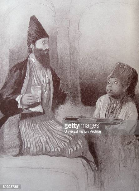 Illustration depicting a Persian prince and his Nubian slave