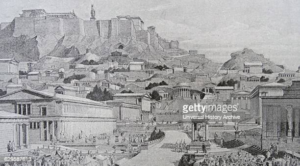 Illustration depicting a reconstructed Acropolis