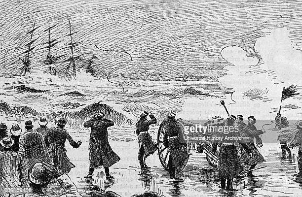 Illustration depicting a server storm off the coast of France as soldiers on the shore watch a ship sinking Dated 19th Century