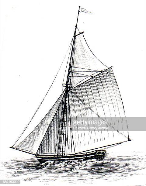 Illustration depicting a sloop built by Blackie Son Dated 20th Century