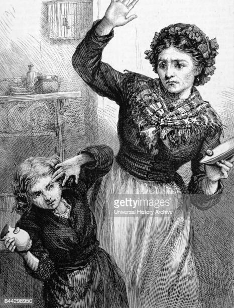 Illustration depicting a stepmother hitting her stepdaughter who had accidently broke a milk jug Dated 19th Century