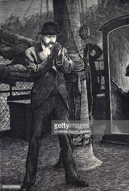 Illustration depicting a yachting holiday a gentleman is having a cigar on the deck after dinner Dated 19th Century
