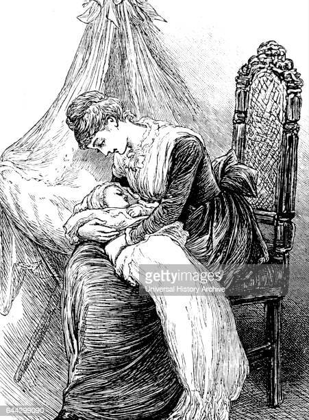 Illustration depicting a young mother cuddling her child Illustrated by Mary Ellen Edwards an English artist and prolific illustrator of children's...