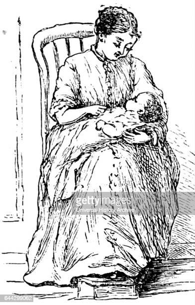 Illustration depicting a young mother nursing her infant child Dated 19th Century