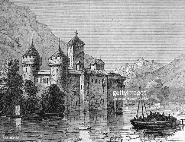 Illustration depicting Chillon Castle located on Lake Geneva south of Veytaux in the canton of Vaud Dated 19th Century