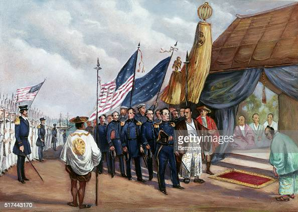Illustration depicting Commodore Matthew Perry meeting the royal commissioner at Yokahama 1853 Undated painting