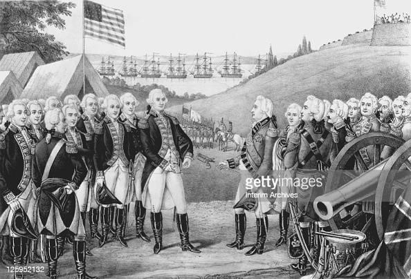 Illustration depicting Cornwallis surrendering to General George Washington at Yorktown Virginia October 19 1781 Over 7000 British and Hessian...