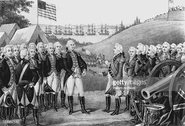 Illustration depicting Cornwallis surrendering to General George Washington at Yorktown Virginia October 19 1781 Over 7000 British and Hessian...