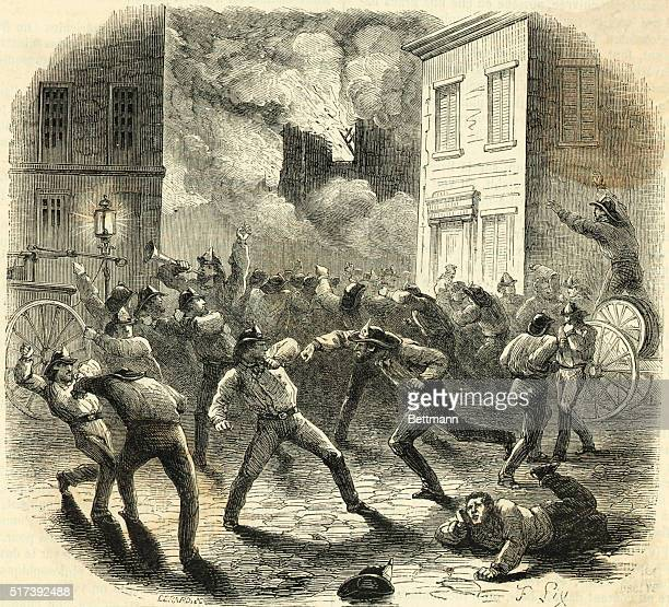 Illustration depicting firemen brawling in the streets of New York City as buildings burn in the background Undated engraving by F Lix