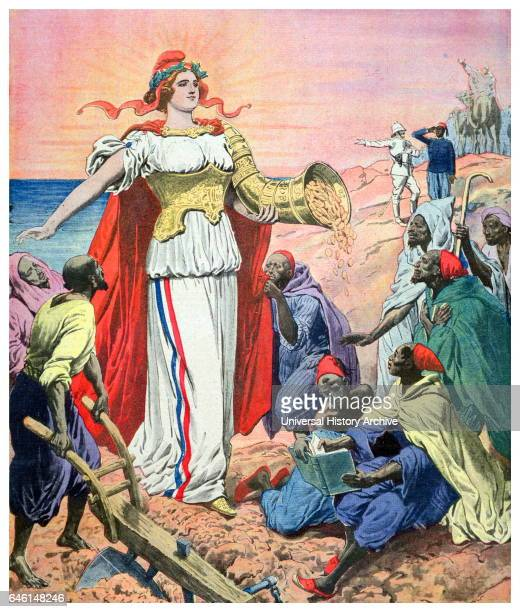 Illustration depicting France as the benefactor of riches for the people of Morocco illustration from 'Le Petit Journal' 1911