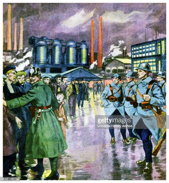 Illustration depicting French army occupying the mining regions of the Ruhr in Germany to secure reparations after World War One from 'Le Petit...