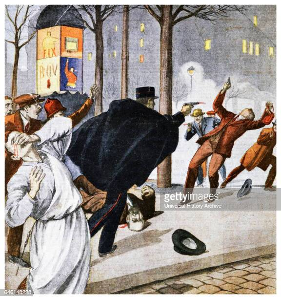 Illustration depicting French policeman shooting a gunman in a gunfight in a Paris street 1925 illustration from 'Le Petit Journal' 1911