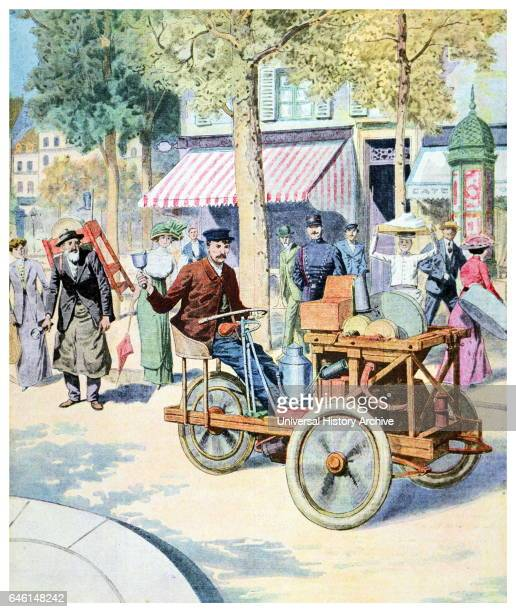 Illustration depicting French street scene with early automobile From 'Le Petit Journal' 1911
