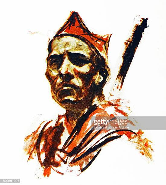 Illustration depicting Republican militiaman in Madrid 1937 By Carlos Saenz de Tejada Spanish painter and illustrator identified with the Nationalist...